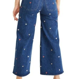 Madewell Pants & Jumpsuits - Madewell Wide-Leg Crop Jeans:Floral Embroidered 31